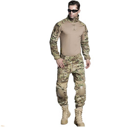 Full hunting camouFlage clothing online shopping - EMERSONGEAR BDU Airsoft Tactical Training Clothing Combat Shirt Pants with Elbow Knee Pads Camouflage Suit for Hunting Multicam EM2725