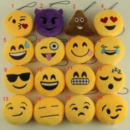 Emoji Smiley Plush Chaveiros 8 cm Popular Dos Desenhos Animados Emoção Amarelo Macio Recheado de Pelúcia Boneca Brinquedos Saco Decoração Pingente de Presente Da Promoção de Natal venda por atacado