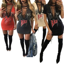 Barato Camisa Plunge Clubwear-Sexy Womens Short Sleeve Choker Deep V Neck Casual Loose Tops T-Shirt Lace-up Plunge Party Cocktail Clubwear Mini Dress