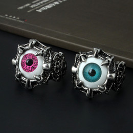 $enCountryForm.capitalKeyWord NZ - Awesome gothic evil eye skull ring for men vintage demon eye punk rings jewelry fashion titanium steel silver plated men's rings gifts