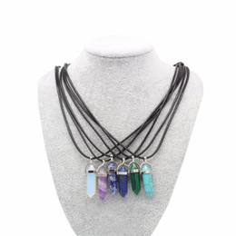 China Semi-precious Crystal Necklace Natural Quartz Amethyst Turquoise Chakra Gem Stone Wax cord Pendant Necklaces For Women cheap gold green amethyst pendant suppliers