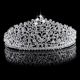 $enCountryForm.capitalKeyWord NZ - New Gorgeous Sparkling Silver Big Wedding Diamante Pageant Tiaras Hairband Crystal Bridal Crowns For Brides Hair Jewelry Headpiece