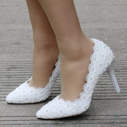 a7d50bdee565fe New Lace Flower Wedding Shoes Beautiful Handmade Women High Heels Girl Party  Prom Pumps Bridal Shoes White 9CM Heels