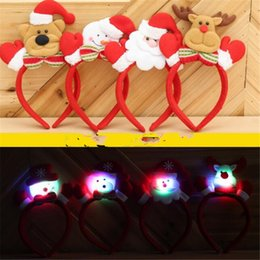 Bored Hair Canada - LED Headband New LED Light Christmas Baby Girls Ear Headband Christmas Santa Claus Snowman Deer Bear Children Hair Accessories DHL Free