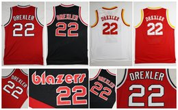 Retro 22 Clyde Drexler Jersey Sports Throwback Basketball Jerseys Red White  Black 100 Mitchell and Ness Rockets ... 899e23b51