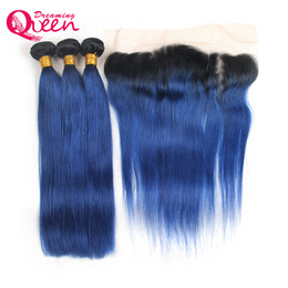 $enCountryForm.capitalKeyWord UK - 1B Ocean Blue Straight Ombre Brazilian Virgin Human Hair Weaves 3 Bundles With 13x4 Ear to Ear Lace Frontal Closure With Baby Hair