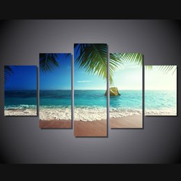 tropical paintings NZ - 5 Pcs Set Framed HD Printed tropical paradise beach coast Group Painting room decor print poster picture canvas Free shipping ny-1436