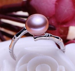 9mm Pearl Size Canada - Wholesale 8-9mm white pink purple three colors oblate Natural pearl ring 925 silver JZ0034