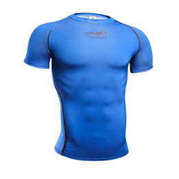 pink compression shorts men NZ - high quality Crossfit lonzo men body engineer Compression Shirt short Sleeves Training t shirt Summer Fitness Clothing Solid Color Bodybuild