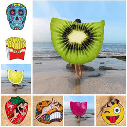 emoji towels round beach 20 styles lemon beach shawl picnic pizza hamburger skull printed tablecloth polyester towel blanket mat blanket cheap polyester - Cheap Beach Towels