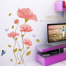 pink living room furniture UK - Pink Flowers Home Decor Wall Stickers Living Room Bedroom Headboard Wallpaper Poster Art Cabinet Furniture DIY Wall Graphic Decoration Mural