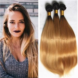 Discount new roots hair extensions 2018 new roots hair new arrival dark roots color 1b 27 honey blonde ombre straight virgin hair extensions 8a brazilian two tone human hair weaving weft bundles pmusecretfo Image collections