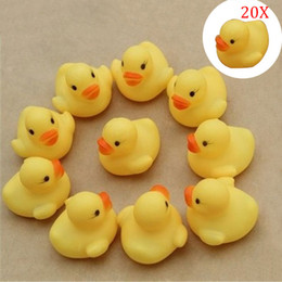 Cute Rubber Ducks Canada - Wholesale- 20Pcs set Duck Child Bath Toys Squeaky Ducky Baby Toys Cute Rubber Ducks Children Kids Water Playing Toy @Z152