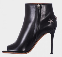 $enCountryForm.capitalKeyWord NZ - Black Smooth Leather Women Open Toe Ankle Boots Metal Stars booties Back Ladies High Heel Boots Zipper Side Female Autumn Fashion Boots