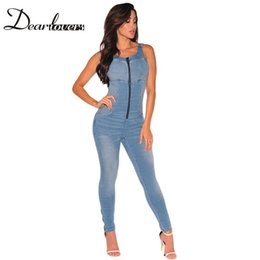 Abercrombie And Fitch Pas Cher-Wholesale- Dear lover Women Denim Overalls Stretch Zipper Sexy Backless Jeans Jumpsuit avec poches Monos Largos De Mujer 2017 LC64108