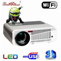 Venta al por mayor de Venta al por mayor- Venta caliente Proyector Full HD 5500 lúmenes LED Android4.4 Wifi Smart Multimedia video 3D Proyector Full hd para cine en casa