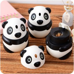 Plastic Toothpick Wholesale Canada - Wholesale- Cartoon Lovely Panda Plastic Automatic Toothpick Box Container Dispenser Holder Popular New toothpick jar Free Shipping