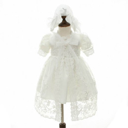 tutu white lace newborn 2019 - Retail New Newborn Baby Girl Christening Gown 3pcs Sets Infant Girls Princess Lace Baptism Dress Toddler Baby Clothing 1