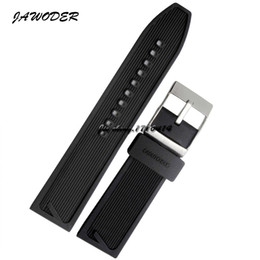 China JAWODER Watchband 24mm Men Black Waterproof Diving Silicone Rubber Watch Band Strap Stainless Steel Silver Pin Buckle for B-R-E Watch supplier r watches suppliers