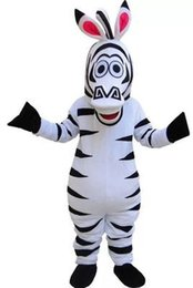 Traje De Cebra Madagascar Baratos-Personaje de dibujos animados Madagascar Zebra traje de la mascota Fancy Birthday Party Dress Disfraces de Halloween Carnaval con alta calidad para adultos