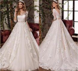 $enCountryForm.capitalKeyWord Canada - Robe de Mariage Elegant White Full Lace Wedding Dresses Detachable Belt Wedding Bridal Gowns with Long Sleeves Vestidos de Novia