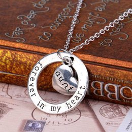 Discount dad daughter jewelry - Family Member jewelry Mom Grandma Daughter Sister Dad Heart Forever In My Heart Pendant Necklace Xmas Gifts maxi stateme