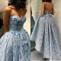 Handmade lace flower cocktail dresses online shopping - High Low Lace Cheap Prom Dresses With handmade Flowers Backless Party Dress Women Cocktail Wear Sexy Formal Dresses Evening Wear Gowns