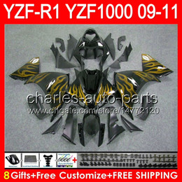 $enCountryForm.capitalKeyWord Canada - 8gifts Body For YAMAHA YZFR1 09 10 11 YZF-R1 09-11 golden flames 95NO67 YZF 1000 YZF R 1 YZF1000 YZF R1 2009 2010 2011 gloss black Fairing