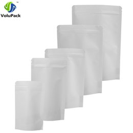Coffee Storage Bags Wholesale NZ - Various Sizes 100PCS Tear Notch Reclosable Thick Stand Up Zip Lock Pouch White Kraft Paper Bag Coffee Beans Food Storage