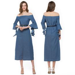 $enCountryForm.capitalKeyWord Australia - 2017 summer new fashion women sexy Stripe stitching denim dress Party Summer Dress bodycon slit Career Dresses