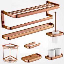 rose gold solid brass towel rack bath toilet paper holder toothbrush holder bathroom accessories discount brass bathroom accessories towel holder