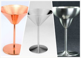 Wine cocktails online shopping - 2017 Goblets Wine Glasses Rose Gold Stainless Steel Cocktail Goblets Champagne Wine Goblets Party Supplies Cocktail Red Wine