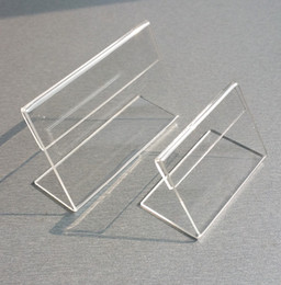 plastic table display stands Canada - Various Smaller Size T1.2mm Clear Acrylic Plastic Sign Display Paper Label Card Price Tag Holder L Shaped Stand Horizontal On Table 50pcs