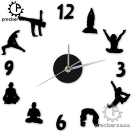 clock number stickers Canada - Wholesale- Yoga Figure Arabic Numbers DIY Wall Clock Modern Decign Home Decor 3D Wall Clock Quartz Quiet Cloc Decorative Wall Sticker