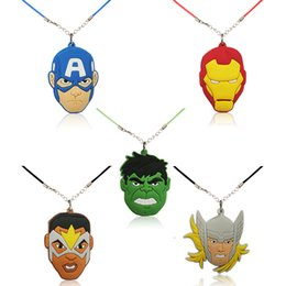 Kids jewelry rope chain online shopping - Retail Avenger Superhero High Quality Cartoon Soft PVC Pendant cm Necklace Rope Chain Choker Necklace Kids Gift Party Favors Jewelry