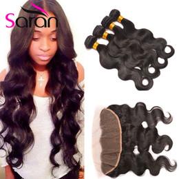 7a hair bundles closure 2019 - Queen Hair 13x4 Frontal Lace Closures and Brazilian Peruvian Indian Malaysian Hair Bundles Top Lace Frontal Closures 7A