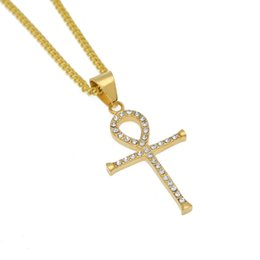 egyptian pendants UK - Hip hop Jewelry Items Wholesale Egyptian Ankh Key Of Life Slender Pendant Necklace Gold Color Stainless Steel With Rhinestones