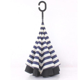 navy umbrellas Australia - Raining Navy Stripe Inverted Umbrellas C-shape J-shape Handle Waterproof Double Layer Reverse Car Umbrella Paraguas Rain Umbrella 4 Colors