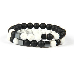 Chinese  Mens Jewelry Wholesale 10pcs lot 8mm Best Quality Matte Agate & White Howlite Marble Stone Square Beaded Bracelets for men manufacturers
