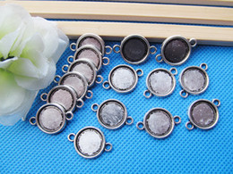 12mm pendant tray Canada - Antique Silver tone Antique bronze Base Setting Bezel Tray Bezel Connector Pendant Charm,fit 12mm Round Cabochon Cameo,Two Loops