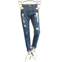 34a7dec16cf3d Wholesale- Winter Cartoon Denim Jeans High Waist Loose Boyfriend Jeans  Female Ripped Jean Torn Harem Pants For Women Trousers Plus Size 5XL