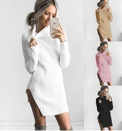 Pull À Manches Longues Mini Pas Cher-Fashion Womens Knitted Turtleneck Sweater Robe sexy split Long Sleeve Sweater Pullover club bandage bodycon Mini-robe