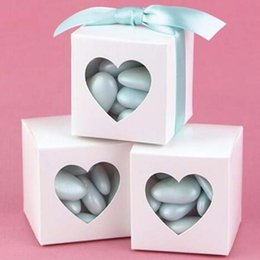 "Discount white color windows - New Arrivals-50Pcs lot 2""x2""x2"" Square Wedding white color Candy Boxes with Heart Window Birthday Gift Bo"