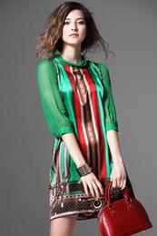 Bohemian Clothing Patterns Canada - Women Summer Silk Dress New Fashion European Style Elegant Vintage Pattern Green Print Dresses For Lady Plus Size Clothing G2519