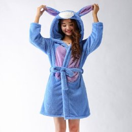 Wholesale- Spring Autumn Winter Flannel Animal Eeyore Women Robe Hooded  Casual Towel Bathrobe Nightgown Ladies  Long Blue Robes 25b91c4ee