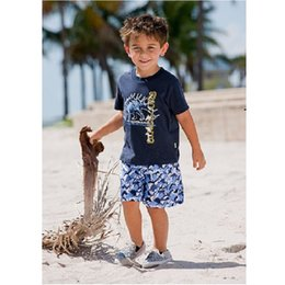 $enCountryForm.capitalKeyWord NZ - 2017 Summer 100% Cotton Boys Clothes Sets Green Dino Baby T-Shirts + Pant Suit Navy Novelty Children Outfits Sport Suits Beach