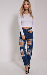 Barato Afligido Das Mulheres Calças De Brim Do Vintage-Sexy Straight Womens Skinny Ripped Zipper Fly Jeans Low Rise Vintage Moda Slim Fit Distressed Best Denim Jeans For Women