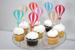 Bridal Shower Cupcakes Toppers NZ - Custom colorful Hot Air Balloon Cupcake Toppers - Birthday wedding bridal shower party cake decorations Party Supplies Festive
