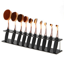 toothbrush makeup brushes Canada - 10 Holes Makeup Toothbrush Oval Brushes Display Holder Stand Storage Organizer Brush Dryer Showing Rack beauty tool