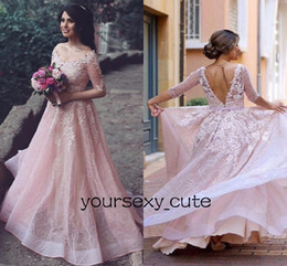 Barato Luz Azul Vestidos De Baile De Formatura-Light Pink Half Sleeves Prom Dresses V Neck Off Shoulder Sequin Organza Appliques Vestidos de noite Backless Sweet 16 Dresses